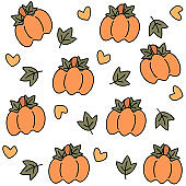 Cute lovely cartoon doodle pumpkins with leaves and hearts seamless vector pattern background illustration