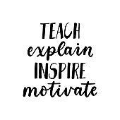 Teach explain inspire motivate inspirational card