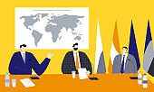 Political summit vector illustration with male politicians sitting near the world map and flags, discussing main development vectors and trying to find solutions of actual social and economic problems