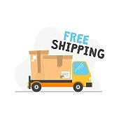 Free shipping icon with truck and inscription