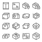 Parcel icon illustration vector set. Contains such icons as Box, cardboard, parcel, unbox, logistics, package, and more. Expanded Stroke