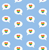 Vector seamless pattern of flat cartoon lgbt rainbow flag bubble with heart