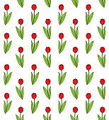 Vector seamless pattern of hand drawn doodle sketch colored tulip