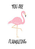 Vector Inspirational quote and hand drawn doodle sketch flamingo isolated on white background