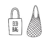 Vector two hand drawn doodle sketch Shopping reusable grocery cloth string mesh cotton eco bag