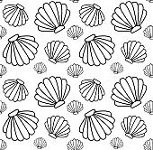 Vector seamless pattern of black line shell