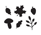 Vector set bundle of hand drawn doodle autumn leaves acorn and mushroom silhouette