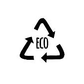 Vector hand drawn doodle sketch black recycle reuse eco symbol