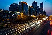 City lights at blue hour