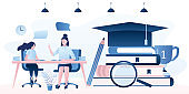 Home schooling concept. Exam preparation banner. Woman tutor and girl teenager student.