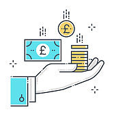 Funds related color line vector icon, illustration