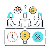 Meeting related color line vector icon, illustration