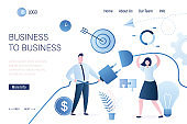 B2b concept landing page template. Business connection. Businesspeople with wires.