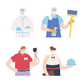thank you essential workers, people employees with face masks, various occupations, coronavirus covid 19 disease