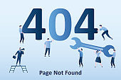 404 error,page not found background. Business people with numbers, programmers carry a wrench.