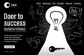 Door to success landing page template. Big keyhole on black background. Business and education signs,symbols.