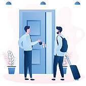 Traveling, tourist  backpacker rent flat for vacation. Male traveler with luggage stand near open door, rent apartment for leisure