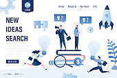 New ideas search landing page template. Teamwork,solution concept.