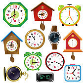Color images of watches on white background. Alarm clock,  wall clock with cuckoo, electronic timepiece, wristwatch. Vector illustration set for kids.