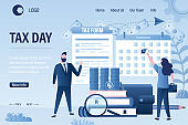 Taxday landing page template. Businesspeople with tax form and calendar. Account books with magnifying glass, pile of coins