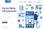 Online shopping landing page template. Handsome man looks at fashion goods and makes purchases on smartphone