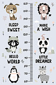 Kids height chart. Cute and funny doodle animals. Growth chart in scandinavian style.