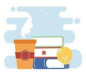 Education books coffee mug and light bulb vector design