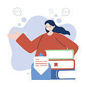 Woman with books and envelope vector design