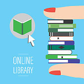Online library landing page template. Fingers holding pile of various books. Reader app or webpage.