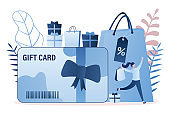Gift card and promotion strategy, gift voucher, discount coupon and certificate concept background.