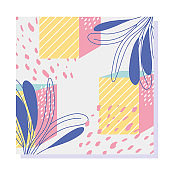 shapes geometric floral texture  80s 90s style abstract background