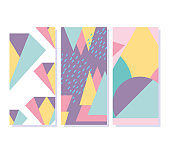 geometric elements retro style texture banners