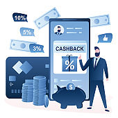 Cashback to a credit card concept. Smartphone with bank app,plastic card,cashback money and businessman with like speech.
