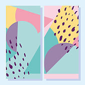 abstract shapes, 80s  geometric vintage style covers or banners