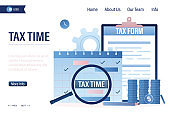 Tax time landing page template. Paper tax form document, calendar with magnifying glass, pile of coins