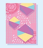 80s 90s style abstract trendy background with different color figures
