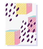 80s 90s style abstract geometric shape for brochure cover template