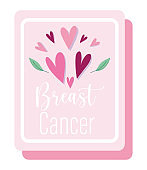 breast cancer awareness month hearts love motivaton pink poster