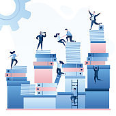 Huge heaps of paper documents and folders. Office work and corporate career. Businesspeople or clerks working.