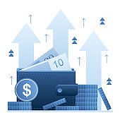 Increase revenue concept background. Wallet full of money. High interest rate. Growing quotes,