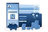 Money cashback  concept. Smartphone with bank app,cashback money and wallet with credit cards.