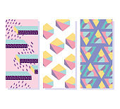 abstract pattern shapes 80s minimalist banners