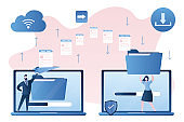 File transfer. Handsome businessman send and woman receives documents. Clouds technology concept.