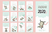 2020 calendar template. 12 months and cover. Year of the rat.