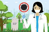 Woman doctor warn about coronavirus pandemic. Increased mortality at virus. Cartoon cemetery,tombstones