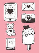 love doodle icon set phone camera mail ice cream bear book pink background