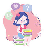 online education, student girl sitting with books knowledge, website and mobile training courses