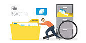Office clerk or employee searching files. Businessman push big yellow folder with documents. File manager, data storage and indexing