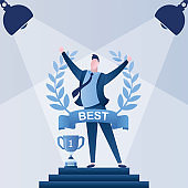 Happy businessman inside of award wreath with ribbon. Successful results concept template.