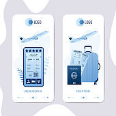 Ticket booking services, app cards template. Mobile phone application for online check-in.